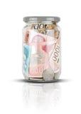 Serbisches Geld im Glas Stockbilder