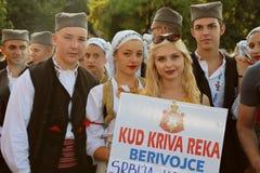 Serbisk grupp av dansare i traditionella dräkter Royaltyfri Bild