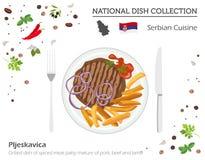 Serbisk kokkonst Europeisk nationell maträttsamling grillad maträtt stock illustrationer