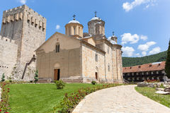 Serbisk ortodox kloster Manasija Arkivfoton
