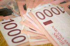 Serbiska dinarpengar, sedlar av 1.000 dinar Arkivbild