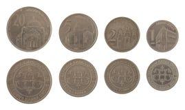 Serbiska mynt som isoleras på White arkivbild