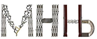 Serbiskt Cyrillic alfabet, bokstavs` M, H, Њ-`-latin M, N, Nj som är församlad från metalliska delar Arkivbild