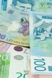 Serbscy dinary i romanian lei banknoty rozprzestrzeniają bilateralnego handlu handlu wymiany pojęcie Zdjęcie Stock