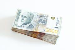 Serbska waluta - rozsypisko 2000 dinarów banknotów obraz royalty free