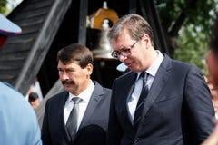 Serbski prezydent Aleksandar Vucic i węgier przewodniczy Obrazy Stock