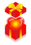 Serc i prezenta pudełka Obrazy Royalty Free