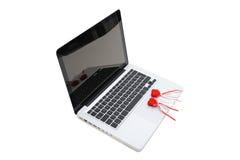 serc klawiaturowego notatnika pluszowa czerwień dwa Zdjęcie Stock