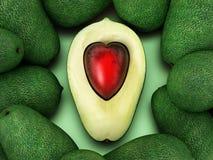 Serc kształtni avocados odizolowywający na białym tle ilustracja 3 d royalty ilustracja