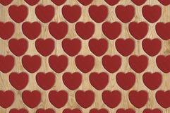 Serca deseniowy drewno Obrazy Stock