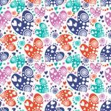 serca deseniują bezszwowego wektor Tło z kolorowa ręka rysującymi ornamentacyjnymi symbolami i dekoracyjnymi elementami na bielu Obrazy Stock
