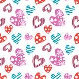 serca deseniują bezszwowego wektor Tło z różna kolorowa ręka rysującymi ornamentacyjnymi symbolami na bielu Fotografia Stock