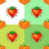 serca deseniują bezszwowego cukierki Truskawka i bania obrazy stock