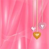 serca diamentowy złocisty valentine Zdjęcia Stock