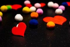 Serca dla walentynki ` s dnia Z faszerować piłkami Zdjęcia Stock