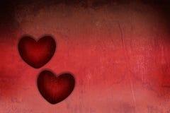 Serca dwa czerwieni grunge textured dla walentynki Fotografia Royalty Free