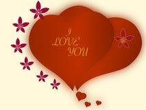 Serca, dwa, miłość, serce, czerwień romantyczna, wpólnie, romansowa, dobierają się, projektują, Obraz Royalty Free