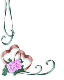 serca graniczny różowe róże za zaproszenie Fotografia Stock