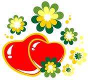 Serca i kwiaty ilustracja wektor