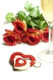 Serca i róże Obrazy Royalty Free