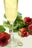 Serca i róże Zdjęcia Stock