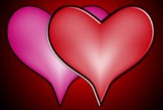 serca kochają wpólnie dwa Zdjęcia Stock