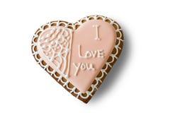 Serca kształtny ciastko z inskrypcją Obrazy Stock