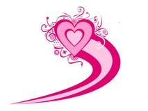 Serca miłość która wygina się Zdjęcia Royalty Free