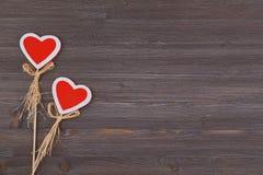 Serca na drewnianym tle miejsce tekst Odgórny widok Obraz Royalty Free