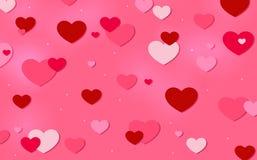 Serca na różowym tle Zdjęcia Royalty Free