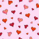 Serca na różowym tle Dla projekta bezszwowy wzór Animacj ilustracje handwork Zdjęcia Royalty Free