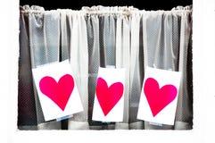 Serca na zasłonach Zdjęcie Royalty Free