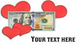 Serca otaczają nowego $100 rachunek Zdjęcie Royalty Free