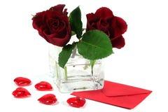 serca piszą list czerwone róże Fotografia Stock