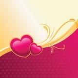 Serca różowi & złocista ilustracja Zdjęcie Stock