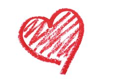 Serca rysujący pomadką Obraz Stock