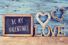Serca, słowo miłość i tekst, byli mój valentine Zdjęcie Royalty Free