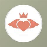 Serca skrzydło Z koroną Zdjęcie Royalty Free