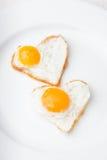 Serca smażący jajka zdjęcie stock