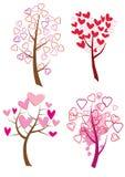 serca ustawiają drzewa Obraz Stock