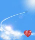 Serca w chmurach i airplan Obraz Royalty Free