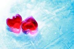 Serca W lodzie Fotografia Royalty Free