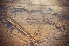 Serca w piasku zdjęcie royalty free