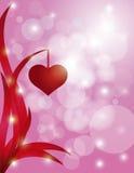 Serca Wiesza na liścia Bokeh tle ilustracja wektor