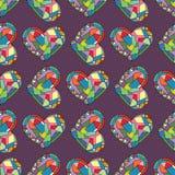 Serca wręczają patroszonego wektorowego bezszwowego wzór Walentynka dnia wakacji tło w nowożytnym stylu Miłości geometrical tekst ilustracji