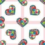 Serca wręczają patroszonego wektorowego bezszwowego wzór Walentynka dnia wakacji tło w nowożytnym stylu Miłości geometrical tekst royalty ilustracja