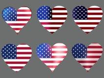 Serca z flaga amerykańską wektor Obrazy Stock