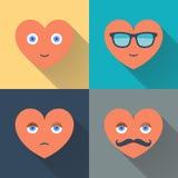 Serca z okularami przeciwsłonecznymi, oczami, wąsy i uśmiechem, Projekt płaska wektorowa ilustracja z długim cieniem Fotografia Stock