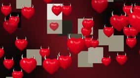 Serca z rogami w czerwieni