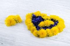 serce ' Błękit i kolor żółty kwitniemy na stole w shap Zdjęcia Stock